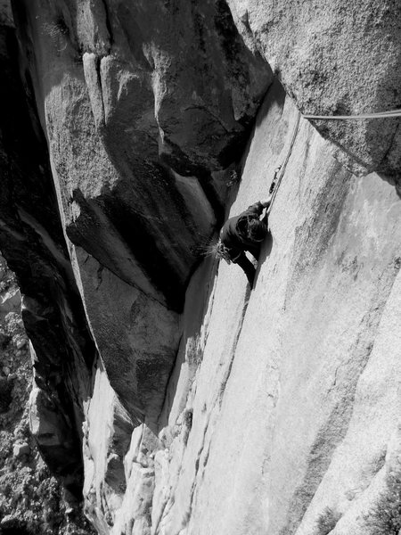 Coming up to the roof on pitch 3.
