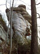 Rock Climbing Photo: The west face with both routes drawn in.