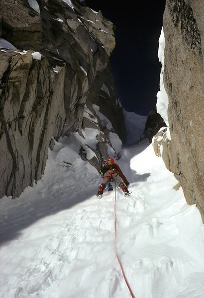 A 1978 winter climb of the couloir immediately left of the 3rd pillar