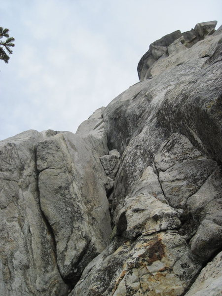 Rock Climbing Photo: The start of Coffin Nail after the easy 5.2 scramb...