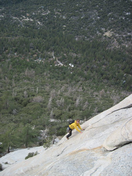 Rock Climbing Photo: Standing over the roof on Coffin Nail. Belay from ...