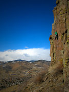 Rock Climbing Photo: A solo of Leaning Pillar, 5.10c.