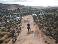 Rock Climbing Photo: Jeff at the natural bollard belay.