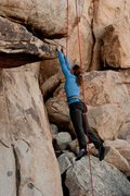 Rock Climbing Photo: Krissy takes a swing on Head over Heals