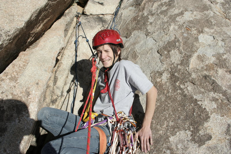 Jesse Morelock at third belay on Dappled Mare, Joshua Tree