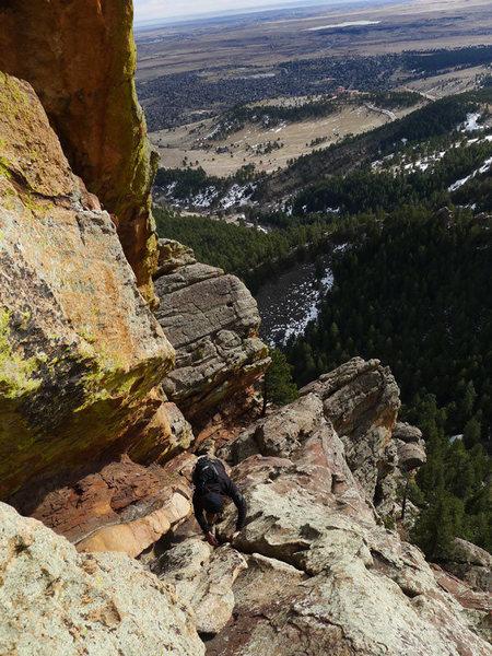 Rock Climbing Photo: David downclimbing the 4th class ramp.