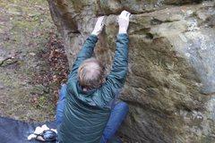 Rock Climbing Photo: Brandon on starting edges.