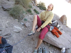Rock Climbing Photo: Oh the pain of putting on the shoes. Good thing it...