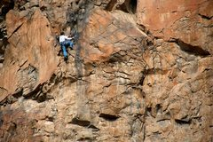 Rock Climbing Photo: Aaron well above the crux and nearing the anchors ...