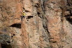 Rock Climbing Photo: In the middle of the exposed arête climbing of th...