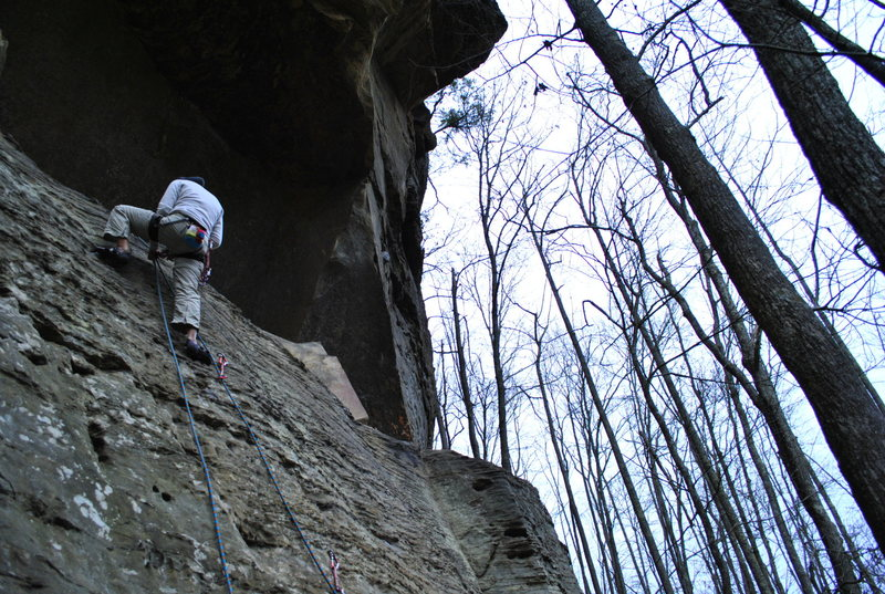 Sport climbs in winter.  Red River Gorge Kentucky.