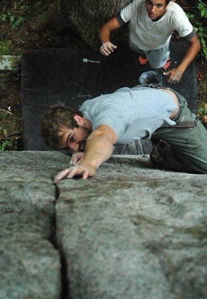 Rock Climbing Photo: Jesse heading for the finger lock.