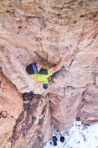 """Rock Climbing Photo: Mike Anderson onsighting """"Pimp's Main Prophet..."""