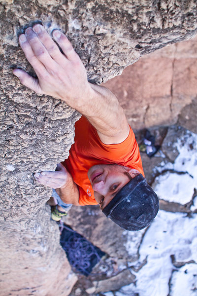 Rock Climbing Photo: Pulling around the roof on Spitting Image.  Photo ...
