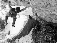 Rock Climbing Photo: Sticking the big huck move, low on the route.  Pho...