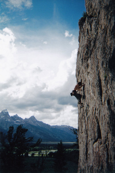 5.11 on Blacktail Butte, Tetons, 2004