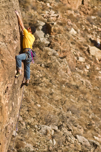 Rock Climbing Photo: Finishing up the steep, juggy crux of Arnold! Arno...