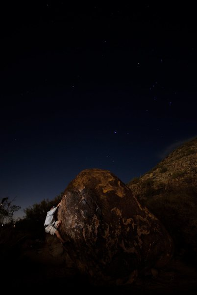 With the lights from the industrial park, Beardsley Boulders are climbable...but increase a grade at night.