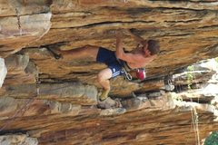 Rock Climbing Photo: Making the opening moves on the roof...