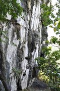 The sooted limestone face of the Uling wall.