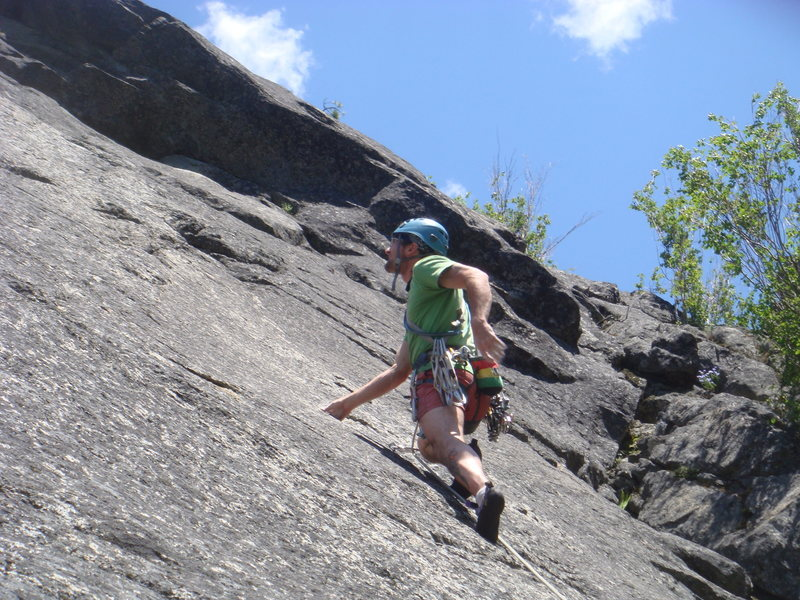 "Rock Climbing Photo: On the ""bubbly slab"" (pitch 3) on Heart ..."