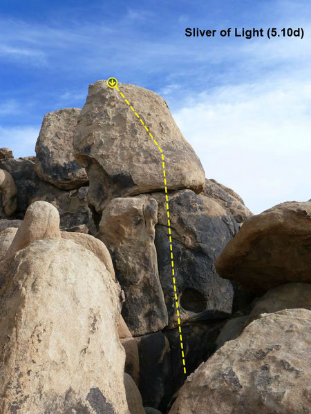 Rock Climbing Photo: Sliver of Light (5.10d), The Cemetery