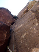 Rock Climbing Photo: Climbing the corner on the variation start to the ...