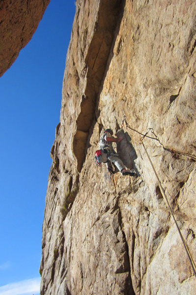 Leo heads for the crux<br> DWI (5.10-)