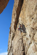 Rock Climbing Photo: Leo heads for the crux DWI (5.10-)