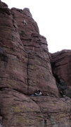 Rock Climbing Photo: AMH on the upper face for the ground-up FA. DAS be...