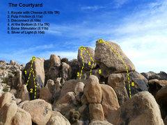 Rock Climbing Photo: The Courtyard photo/topo, The Cemetery