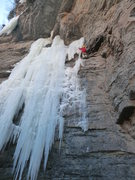 Rock Climbing Photo: Carl Pluim connecting the ice from the Frigid Cupc...