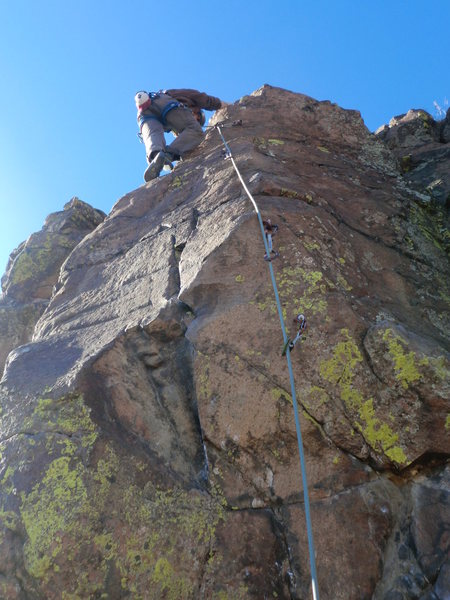 Josh Darnell on unknown route near right of Cool Thing, Jan. 2012.