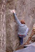 Rock Climbing Photo: Hil making the long slap to the sloper