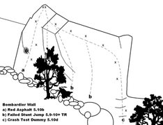Rock Climbing Photo: Bombardier Wall Topo