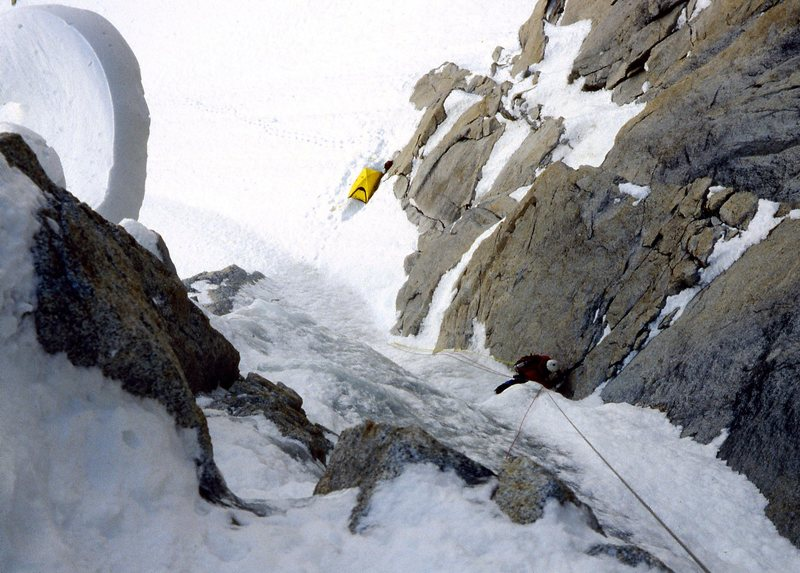 Rock Climbing Photo: Starting the first part of The N.Q. Couloir.