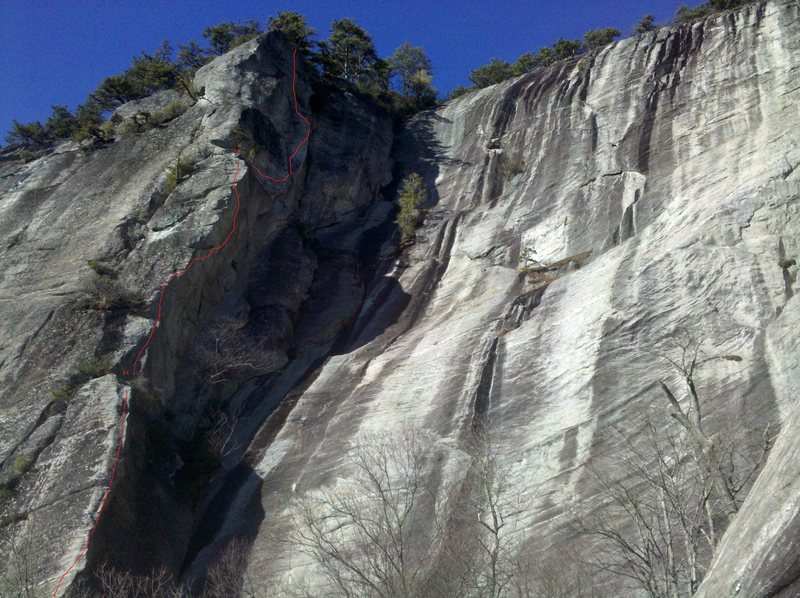 The upper 3/4 of the route, just above where the first pitch traverses in.