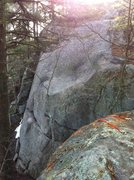 Rock Climbing Photo: The upper slab of the right end of the main face.
