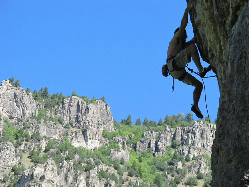 Paleface, Logan Canyon, final boulder problem section.  Pic of me, July, 2011, by Mike Langenheim.