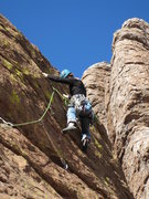 Rock Climbing Photo: Marcy on the FA of this fun, easy route