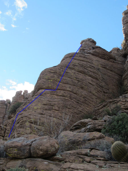 Rock Climbing Photo: 3RNs shown in blue.  Outta Ideas is the thin crack...