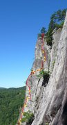 Rock Climbing Photo: Another beta photo for the upper section. I ripped...
