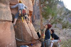 Rock Climbing Photo: Starting the first pitch at Weeping Rock Chimney