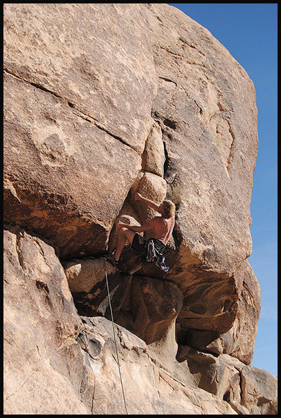 Steve Belford on &quot;Spud Overhang&quot;.<br> Photo by Blitzo.