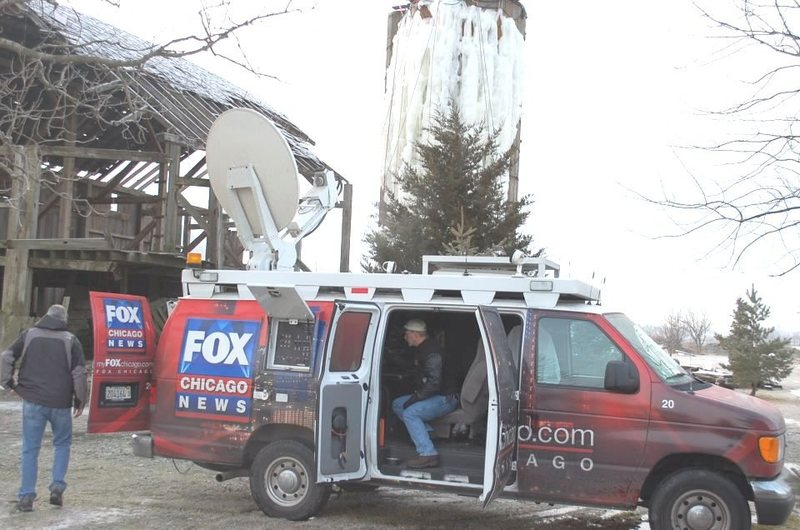 Fox TV remote shot at our ice tower last Wednesday.