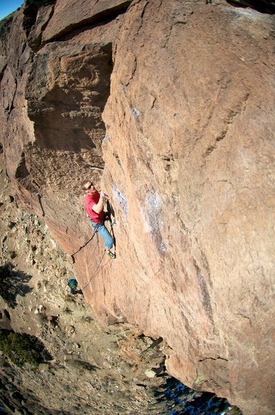 Rock Climbing Photo: Breaking through the crux on fine January day. (Th...