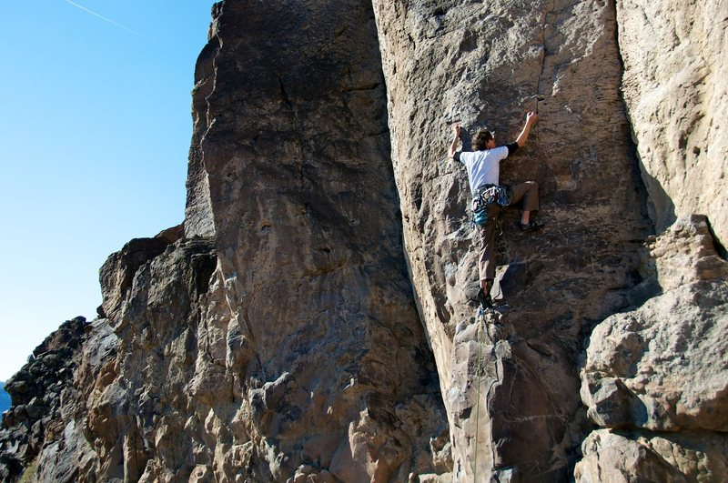 """The rounded prow climbing of """"Boy What Assholes"""". January 2012."""