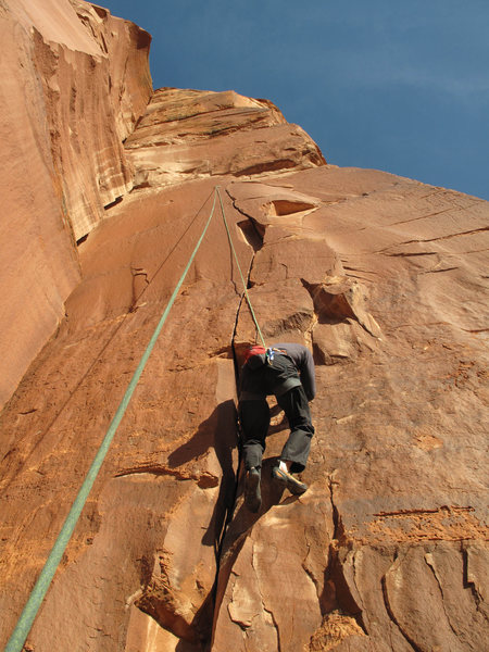 Rob on the T-rope on Zig Zag.<br> <br> <em>Eds. The route to the left is Mr. Sheeley aka Catholic Girls.</em>