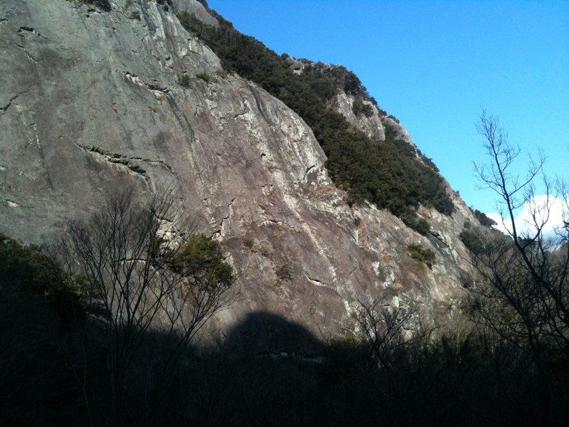 A wide shot of the south face of joyama. Take from the hiking path half way up.