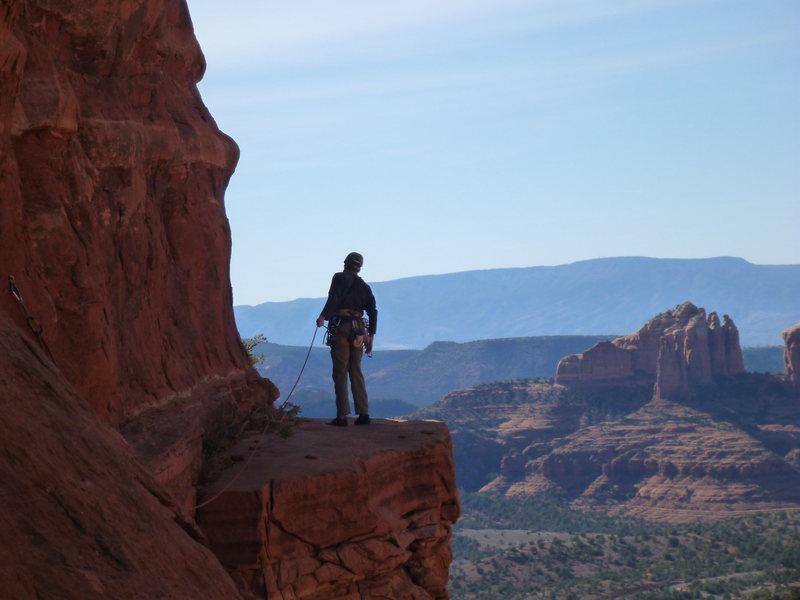 Rock Climbing Photo: David peering around the corning on the traverse. ...
